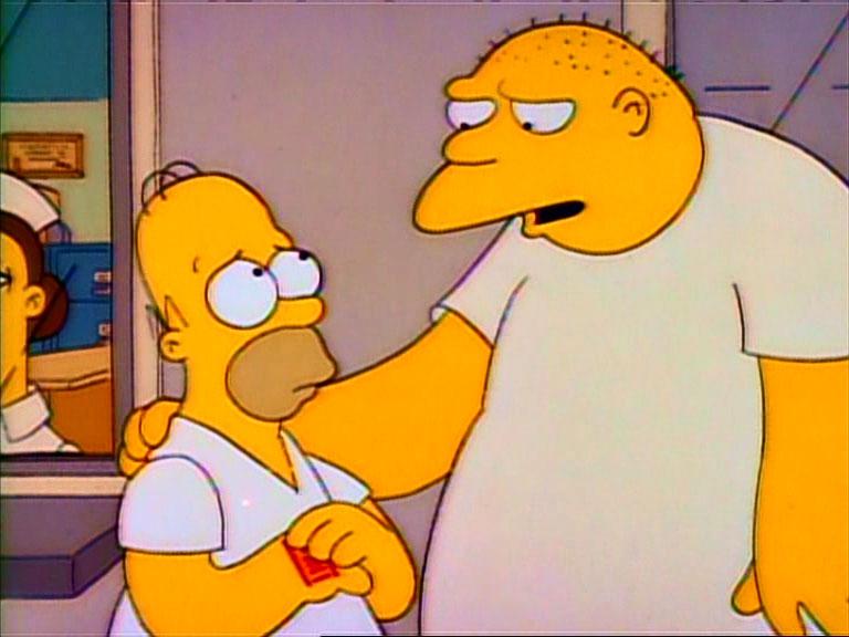 """Una escena del episodio de Los Simpson """"Papá, Loco De Atar"""", con Homer y Leon Kompowsky (Michael Jackson)"""