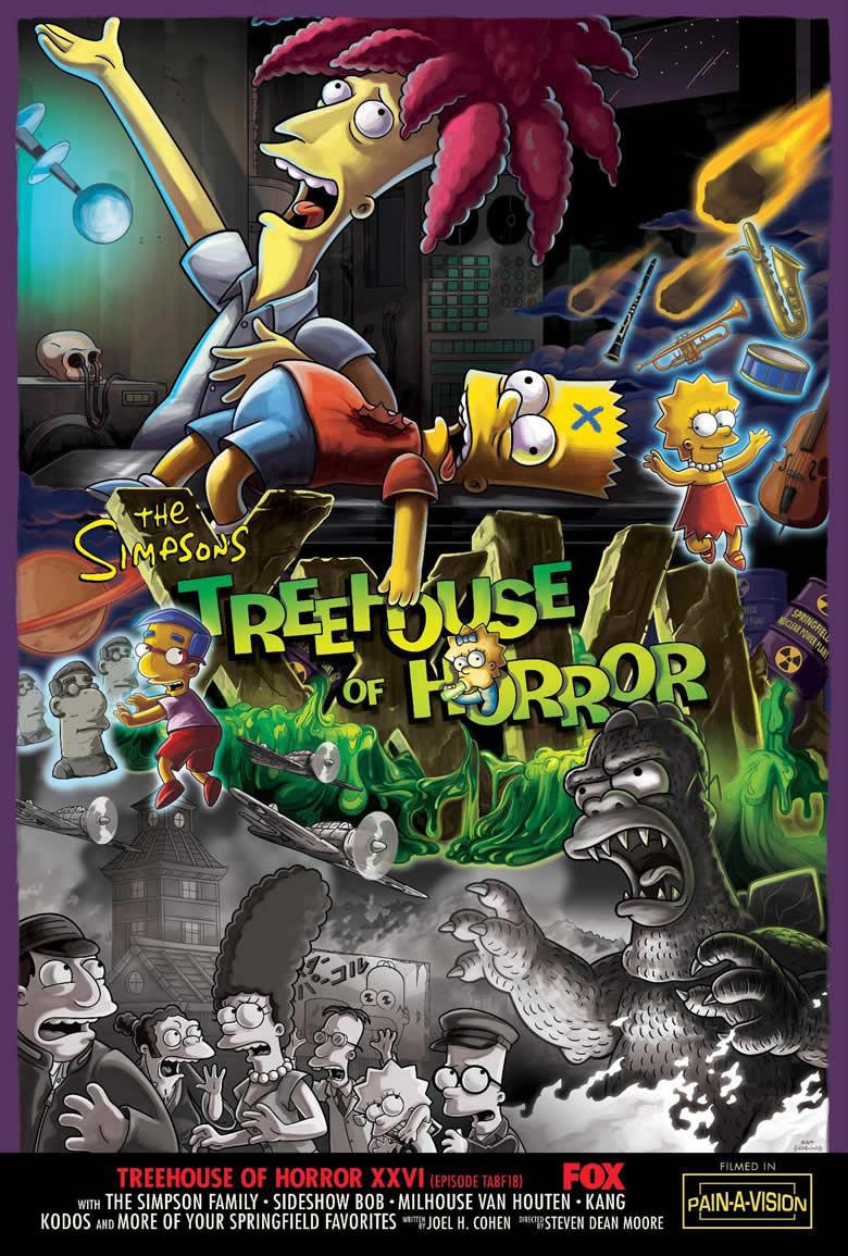 """Imagen promocional de la temporada 27 de Los Simpson: """"Treehouse Of Horror XXVI"""""""