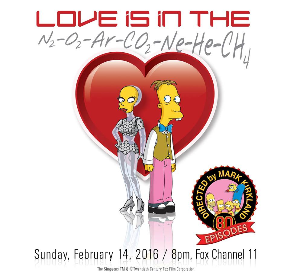 "Imagen promocional de la temporada 27 de Los Simpson: ""Love Is In The N2-O2-Ar-CO2-Ne-He-CH4"""