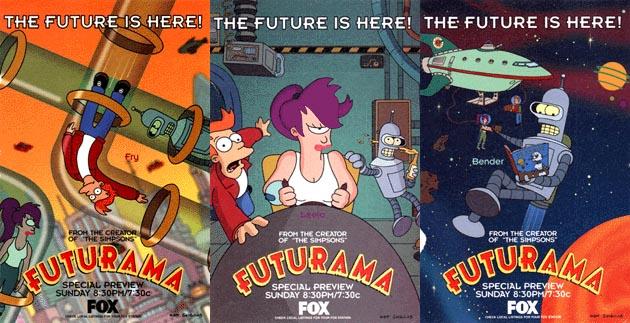 Tres anuncios del estreno de Futurama en Fox