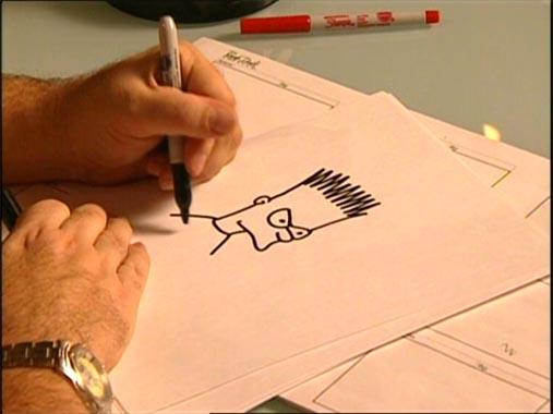 Matt Groening dibujando a Bart