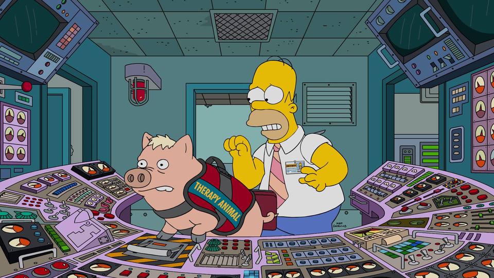 """Imagen promocional de la temporada 28 de Los Simpson: """"Pork And Burns"""""""