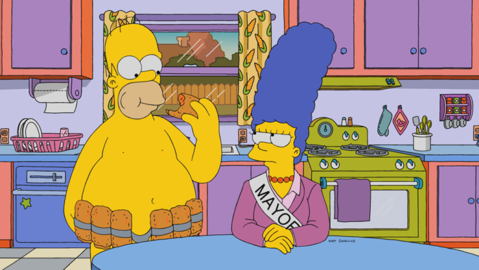 "Imagen promocional de la temporada 29 de Los Simpson: ""The Old Blue Mayor She Ain't What She Used To Be""."