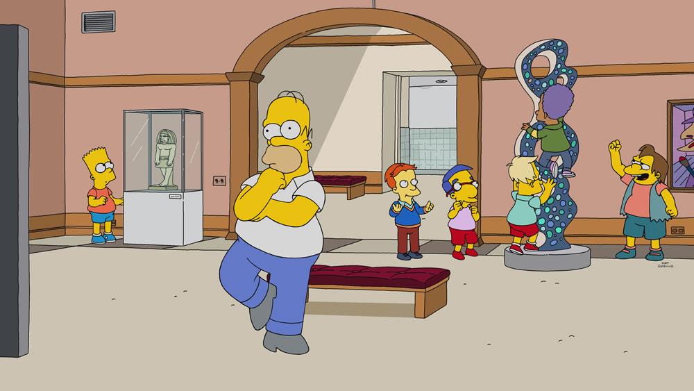 "Imagen promocional de Los Simpson: ""Homer Is Where The Art Isn't""."