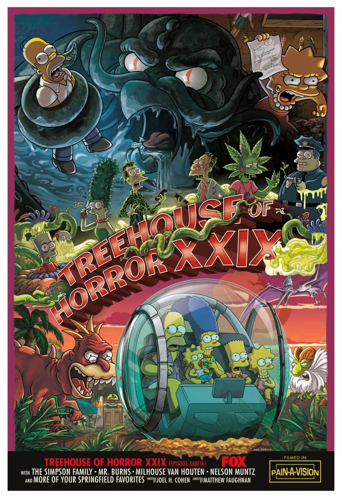 "Imagen promocional de la temporada 30 de Los Simpson: ""Treehouse Of Horror XXIX""."