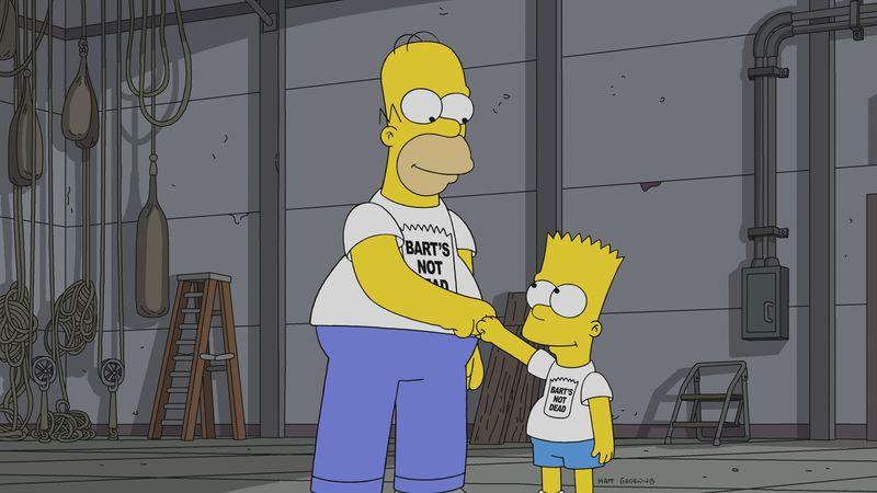 """Imagen promocional de la temporada 30 de Los Simpson: """"Bart's Not Dead""""."""