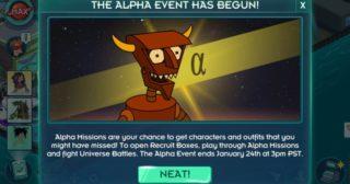 Nuevo minievento en Futurama: Mundos del Mañana - The Alpha Event