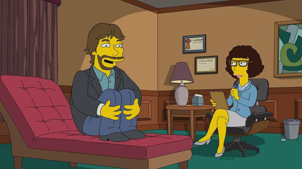 """Imagen promocional de la temporada 30 de Los Simpson: Ken Burns en """"Woo-hoo Dunnit?"""""""