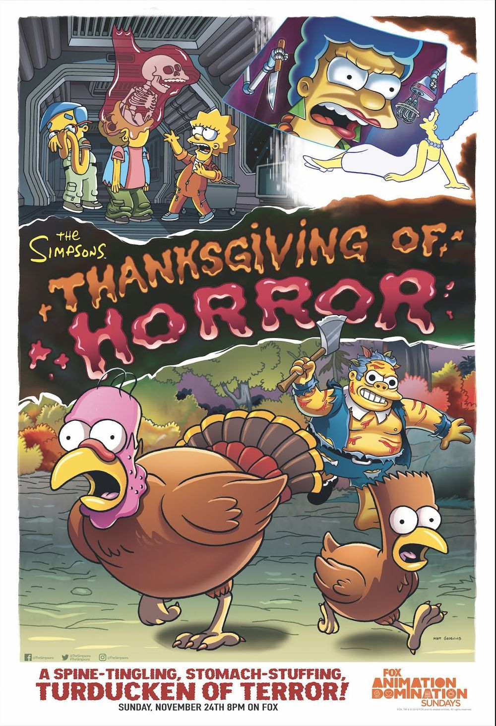 "Imagen promocional de la temporada 31 de Los Simpson: ""Thanksgiving Of Horror"""