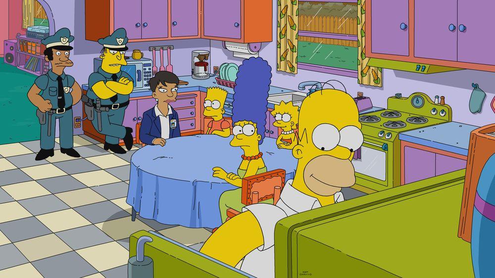 """Imagen promocional de la temporada 31 de Los Simpson: """"The Fat Blue Line"""""""