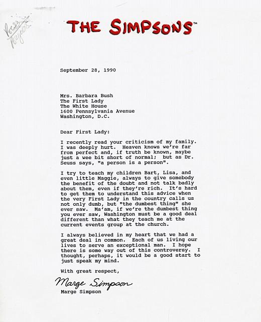 Carta de Marge Simpson a Barbara Bush