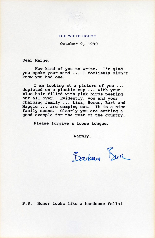 Carta de Barbara Bush a Marge Simpson