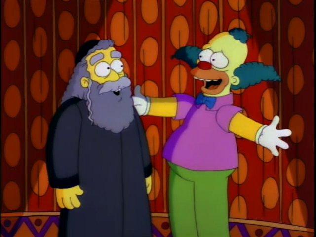 Los Simpson - El Rabino Krustofsky y Krusty el payaso