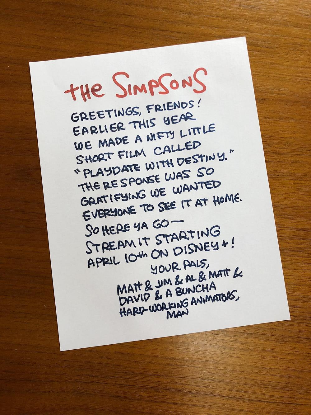 Los Simpson: Carta de Matt Groening