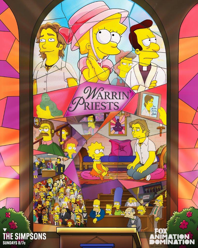 """Imagen promocional de la temporada 31 de Los Simpson: """"Warrin' Priests: Part One""""."""