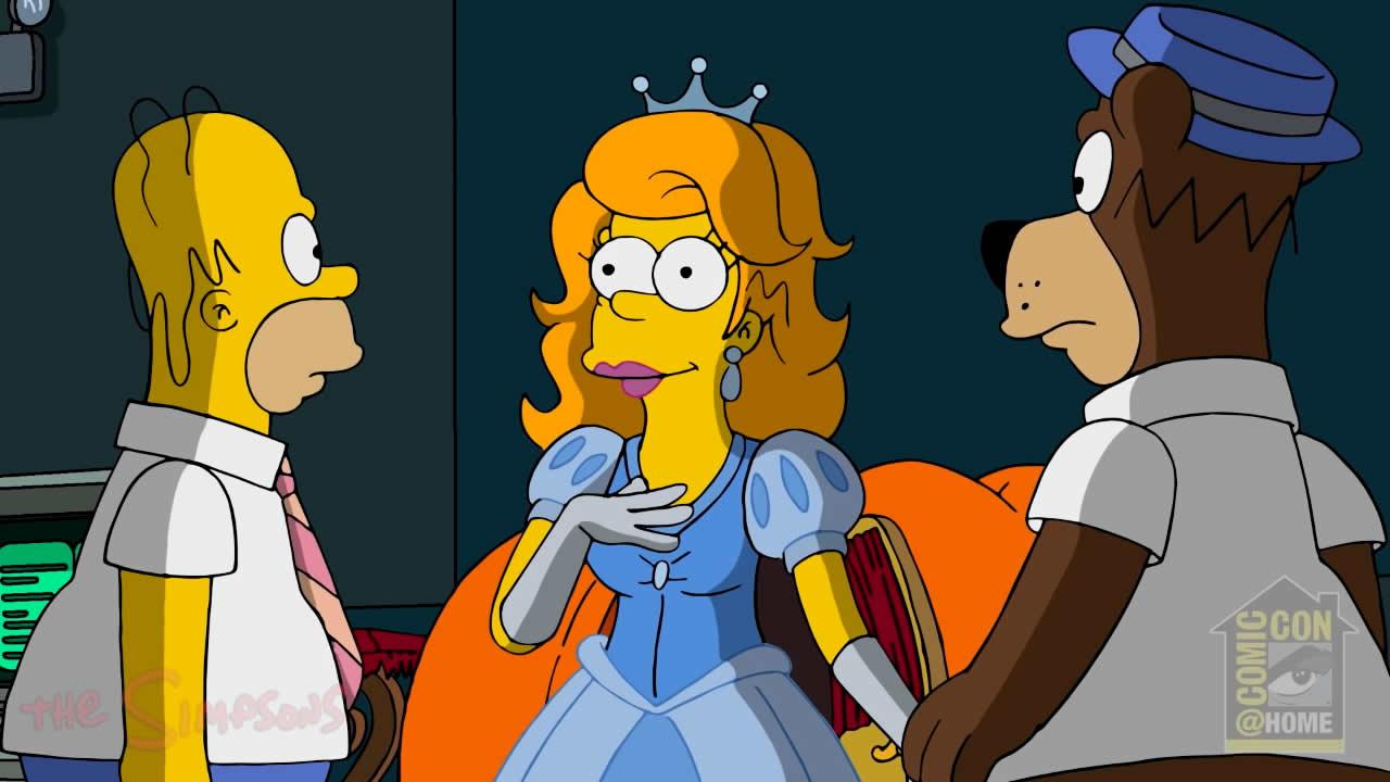 """Homer, Homer Princesa Disney y Homer-Barbera en """"Homer: Un Nuevo Universo""""."""