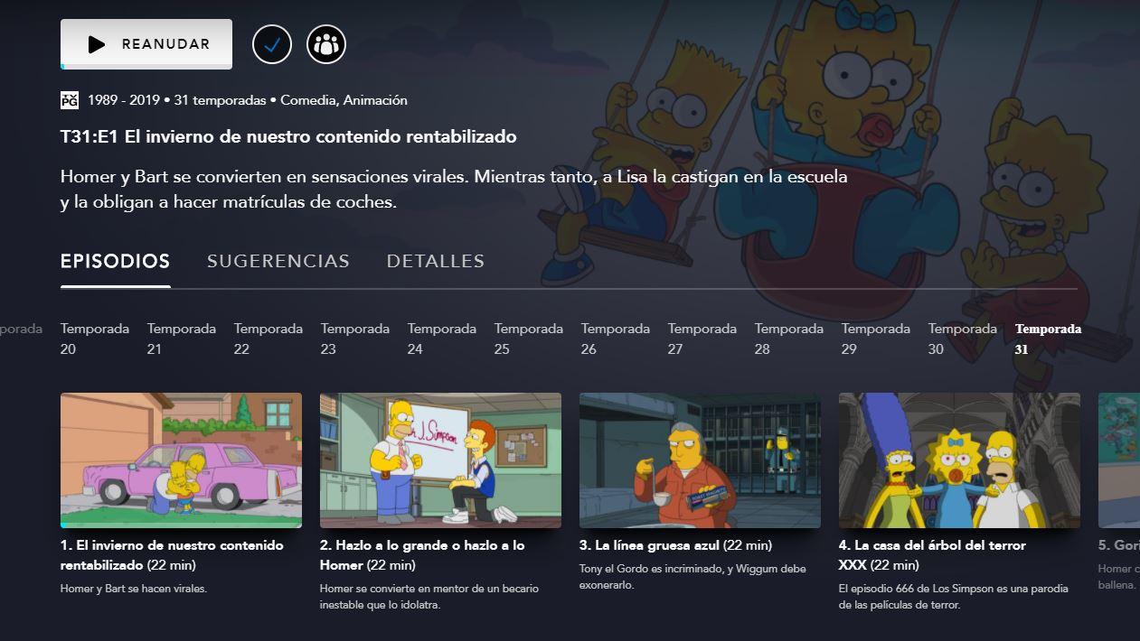 La temporada 31 de Los Simpson en Disney+