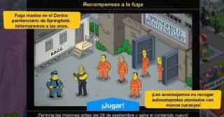 Nuevo minievento en Los Simpson: Springfield - Recompensas a la fuga